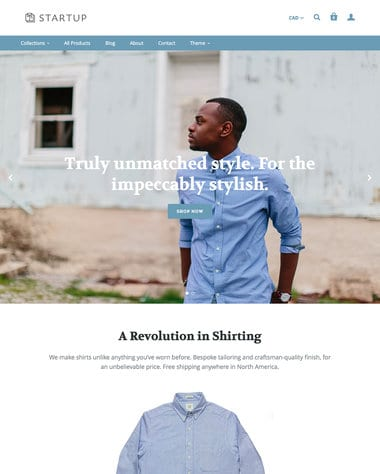 Startup is a responsive Shopify theme, perfect for clothing. With lots of features it allows the homepage to be a one-page store all on its own.