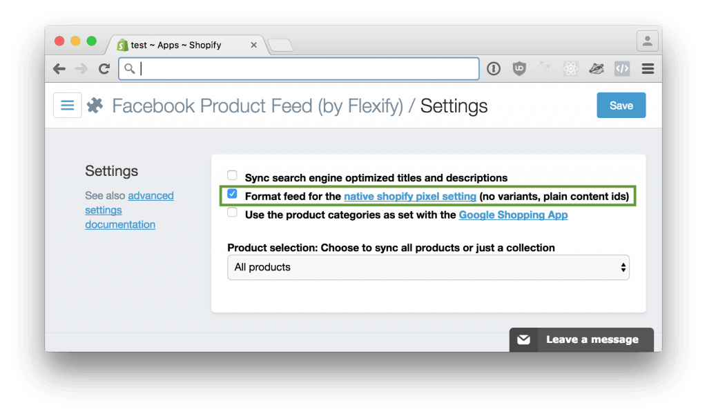 Facebook Product Feed (by Flexify)
